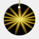 Gold star on black background christmas tree ornament