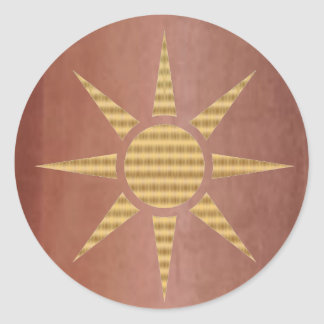 Gold Star on Exotic Copper Classic Round Sticker