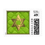 Gold Star on Lime Green Quilted Stamps