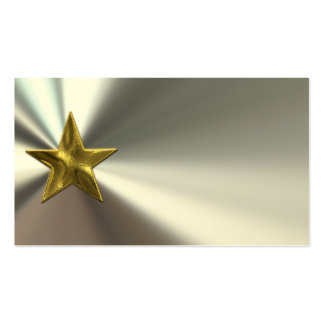Gold Star On Silver Bent Metal Look Business Cards