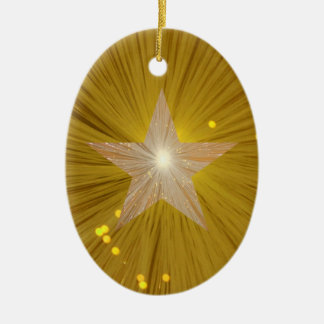 Gold Star ornament oval