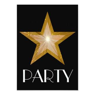 "Gold Star 'Party' invitation black 5"" X 7"" Invitation Card"
