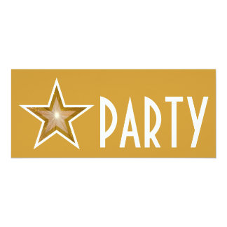 Gold Star 'PARTY' invitation gold long