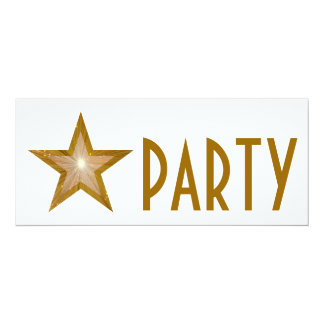 Gold Star 'PARTY' invitation white long