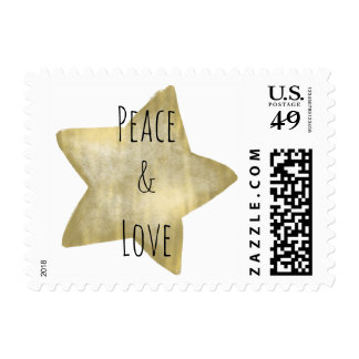 Gold Star Peace Love Postage