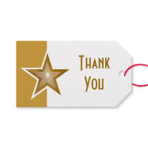 Gold Star print Thank You gold white text Gift Tags