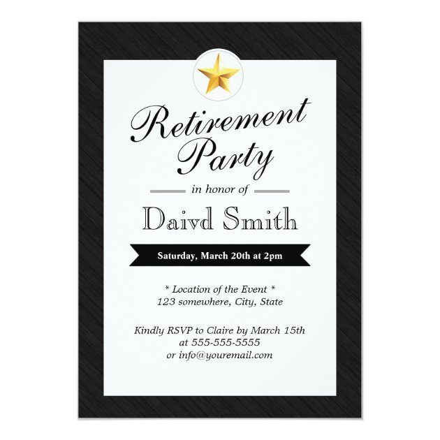 Gold Star Retirement Party Invitations