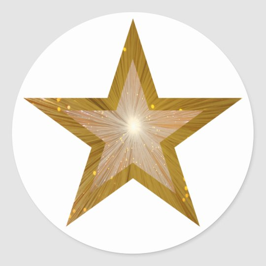 Gold Star round sticker white