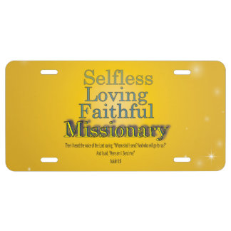 Gold Star Selfless Loving Faithful Missionary License Plate