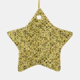 Gold Star Sequin Glitter Effect Ceramic Ornament