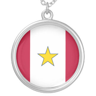 Gold Star Service, United States flag Silver Plated Necklace