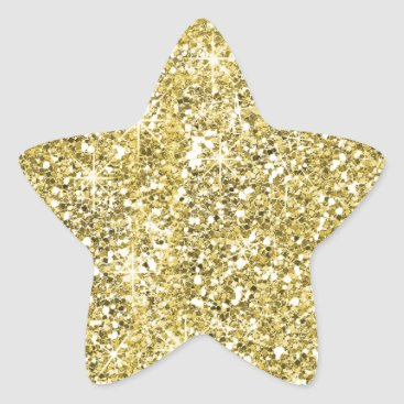 specialoccasions Gold Star Shape Faux Glitter Stickers