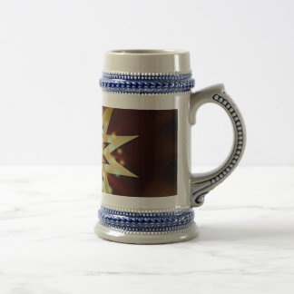 Gold Star Shapes with a Grungy Background Beer Stein