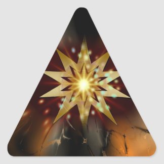Gold Star Shapes with a Grungy Background Triangle Sticker