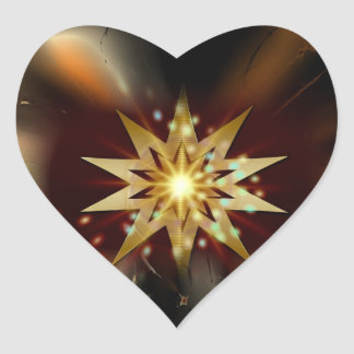 Gold Star Shapes with a Grungy Background Heart Sticker