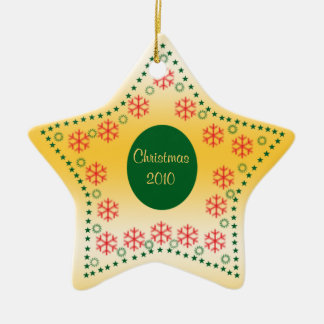 Gold Star & Snowflake First Christmas Ornament