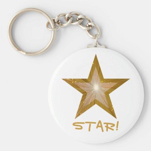 Gold Star 'STAR!' keychain white