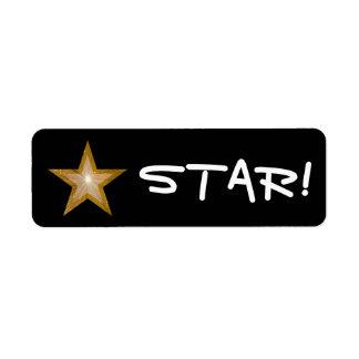 "Gold Star ""STAR!"" label small black"