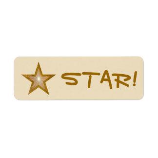 """Gold Star """"STAR!"""" label small cream"""