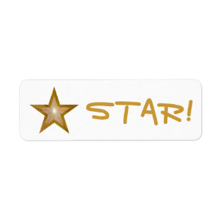 """Gold Star """"STAR!"""" label small white"""