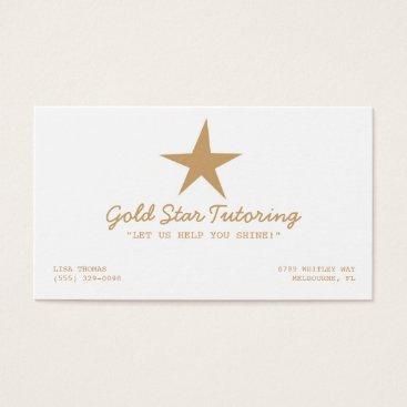 Professional Business Gold Star Tutoring Business Card