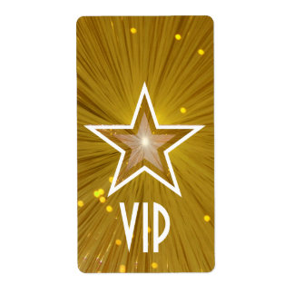 Gold Star 'VIP' label large white text