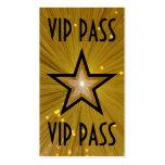 Gold Star 'VIP PASS' business card black back