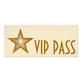 Gold Star 'VIP PASS' invitation cream long