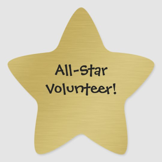 Gold Star Volunteer Recognition Star Sticker