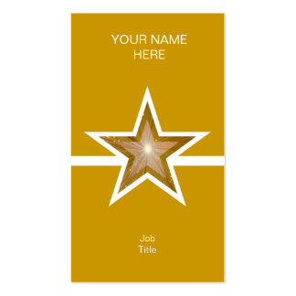 Gold Star white line business card gold vertical