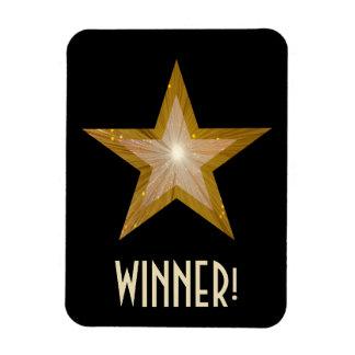 """""""Gold"""" Star 'Winner!' flexible magnet black Flexible Magnets"""
