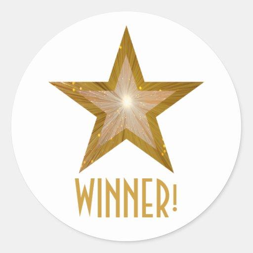 Gold Star 'WINNER!' round sticker white