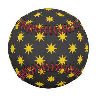 Gold Star with Black Background Baseball