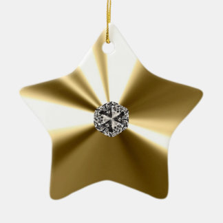 Gold Star With Diamond Ornament