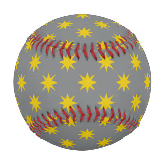 Gold Star with Grey Background Baseball
