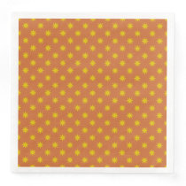 Gold Star with Orange Background Paper Dinner Napkin