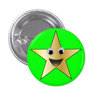Gold Star with Smiling Face Button