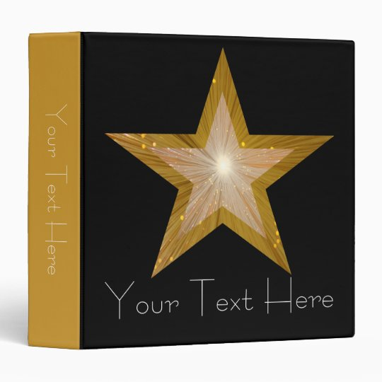Gold Star 'Your Text' binder black