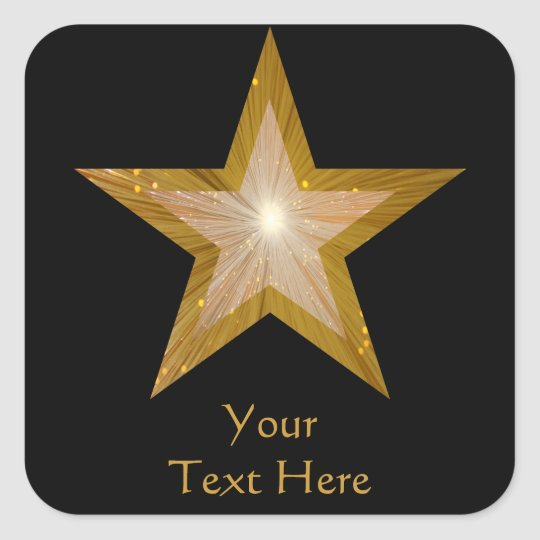 Gold Star 'Your Text' square sticker black