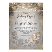 Gold Starfish Couple Tropical Beach Wedding Invitation