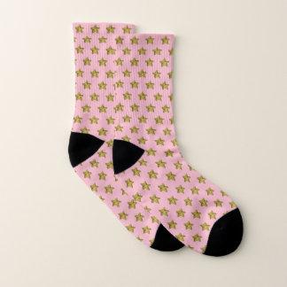 Gold Starfish Pattern Baby Pink Pastel Socks
