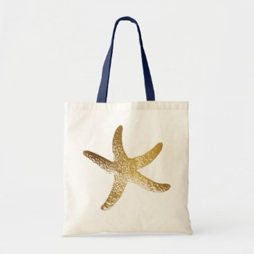 Beach Themed Gold Starfish Tote