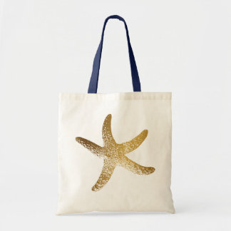 Gold Starfish Tote Bag