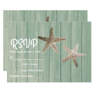 Beach Themed Gold Starfish & Wood Elegant Beach RSVP Card