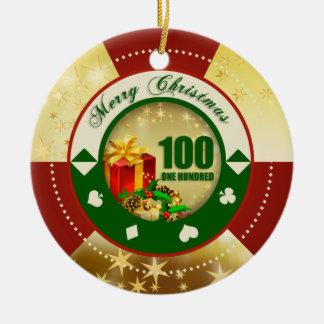 Gold Stars $100 Poker Chip Ornament