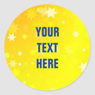 Gold Stars background with custom text Classic Round Sticker