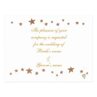 Gold Stars Border Wedding Invitation Postcards