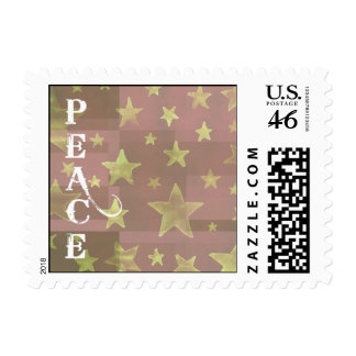 Gold Stars Christmas Peace Postage