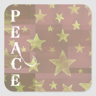 Gold Stars Christmas Peace Stickers