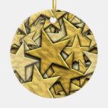 Gold Stars Christmas Tree Ornaments